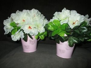 Artificial White Pink Flowers Gold Buckets Wedding Party Set of 2 Centerpieces