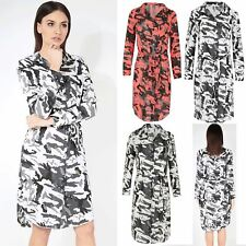 Womens Shirt Dress Ladies Army Print Curved Hem Collard Front Buttons Belted