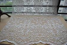 "Vintage Guipure Embroidery Lace Fabric 53"" Wide Ivory Bridal Lace Fabric 1 Yard"