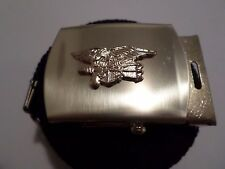 U.S  MILITARY STYLE BLACK WEB BELT WITH NAVY SEALS GOLD INSIGNIA BRASS BUCKLE