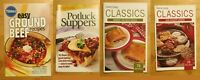 Lot of 4 Cookbooks Pillsbury Betty Crocker Cookies Quick Meals Potluck Recipes