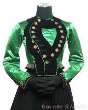 STUNNING German Folk Costume jacket antique silk handmade buttons green red Xmas