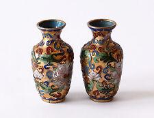Coppia Vasi Cloisonnè Metallo Cinese Pair Oriental Ancient Antique Vase H.8cm