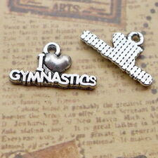 10pcs Words I lOVE Gymnastics Charms Old Silver Bead Pendant DIY 10.5*19.5mm