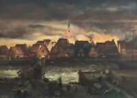 Brennende Stadt am Meer mit Hafen Ölgemälde signiert 50 x 70 Norddeutschland?