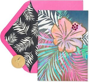 Papyrus Birthday Card - Gorgeous Tropical Flowers, a Year of Everything You Love