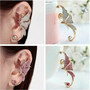 Fashion Sexy Butterfly Ear Cuff Clip Party Full Rhinestone Crystal Earrings IPC