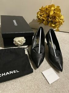WIB CHANEL Black Leather Pointed Toe Shoes Heels Size 37.5 UK 4.5 Worn Twice