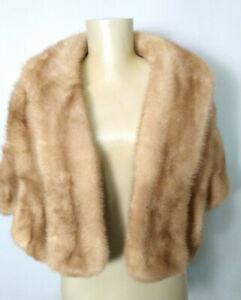 Vintage Genuine Honey Mink Fur Stole Wrap w Pockets Womens One Size