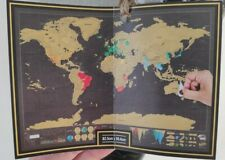 Scratch Off World Map Deluxe Edition Travel Log Journal Poster Wall