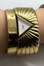Vintage Franklin Mint 22 Karat Gold Plated Egyptian Pyramid Watch wide Cuff