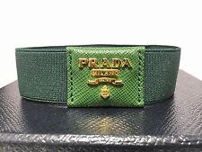 NWT AUTHENTIC Prada ELASTIC LEATHER MENS Bracelet BOX & COA GREEN SP NR