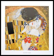 Gustav Klimt Der Kuss Poster Kunstdruck Bild mit Alu Rahmen in schwarz 50x50cm