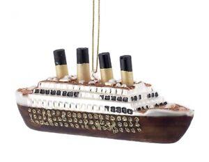 Kurt Adler Noble Gems Titanic Ship Christmas Holiday Ornament Glass