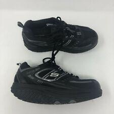 Skechers Shape-Up Rocker Shoes Womens 6.5 Black Leather Walking Sneakers