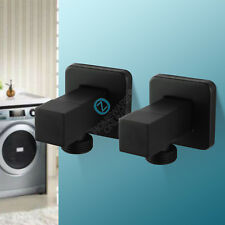 1/4 Turn Laundry Wall Sink Tap Set Washing Machine Stops Electro-plated black