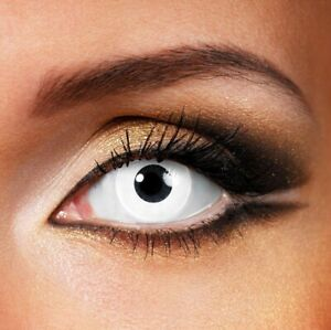 Halloween White Contacts SHIPS NEXT DAY from USA Scary Cosplay FREE CASE -Sealed