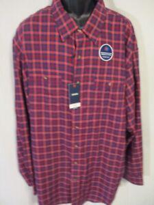 Izod Cotton Blnd BIG TALL RED Plaid Temp Controlled Long Slve Shirt SR$60 NEW