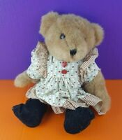 "Tender Heart Treasures Plush Brown Teddy Bear Jointed Dress Stuffed Animal 11"""