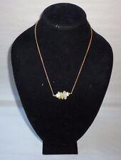 Gold Tone Quartz Tumble Stone & Shell Bead Chain Fashion Necklace - FN0191