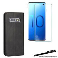 Etui portefeuille Noir pour Samsung S10e Housse protection + Verre trempé 3D