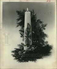 1966 Press Photo Christmas Candle With Pine Twigs Decoration. - hca14423