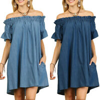 Plus Size Ladys Bardot Denim Ruffle Tunic Dress Off Shoulder Loose Sundress 8-22