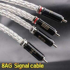 8AG Pair 16 Single OCC Silver-Plated Hifi Audio Signal Rca Cable 0102 Plug
