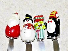Set 4 Christmas Party Cheese Dip Spreader Appetizer Knife Knives Stainless Steel