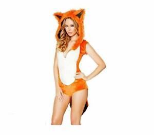 Orange White Romper Sexy Adults Role Play Fox Costumes Fancy Halloween Dress