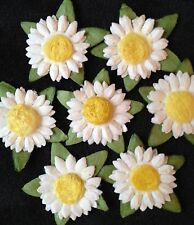 10 White Sunflowers Daisies Handmade Mulberry Paper Scrapbooks Cards Picnics