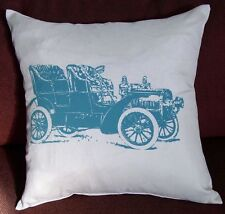 Vintage Beige w/ Blue Car Polyester Square Cushion Cover/ Pillow Case