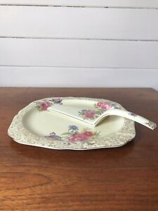 Vintage Lord Nelson Ware Elijah Cotton Floral Chintz Cake Plate And Cake Lifter