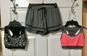 2 Danskin SPORTS BRAS Wireless Unlined & Gray Active Shorts 3 Pc LOT Size Small
