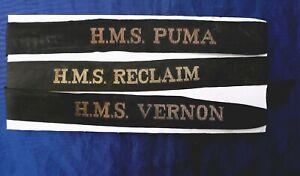 THREE ORIGINAL WW2 ROYAL NAVY CAP TALLIES: HMS PUMA, HMS RECLAIM, HMS VERNON.
