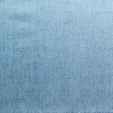 Light Blue 100% Cotton Washed 4oz Denim Fabric - Chambray Style - By The Metre