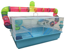 Large 2-Level Habitat Hamster Rodent Gerbil Mouse Mice Cage W/Crossover Tubes