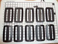 """10 x BLACK PLASTIC DELRIN 3 BAR SLIDES BUCKLES FOR WEBBING - 50mm """"D"""""""