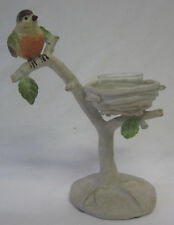Tea Light Candle Holder French Provincial Style Bird Perched on a Branch & Nest