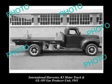 OLD POSTCARD SIZE PHOTO OF INTERNATIONAL HARVESTER K5 TRUCK & GAS PRODUCER c1941