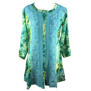 NEW Women's Top Ladies Tunic Hand Embroidered Chikan Casual Lady's Kurti GIFT