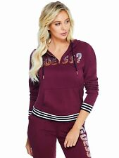 GUESS Womens Burgundy Red Sequin Logo Pullover Hoodie with Stripe Trim M NEW