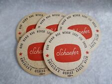 """5 Vintage Schaefer """"Our Hand Has Never Lost Its Skill"""" Cardboard Beer Coasters"""