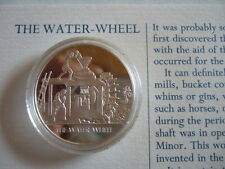 THE WATER WHEEL MANKIND INVENTIONS HALLMARKED SILVER PROOF MEDAL BY JOHN PINCHES