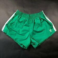 Vintage 90s NWT Adidas Trefoil Mens XL (40-42) Green White Stripe Running Shorts