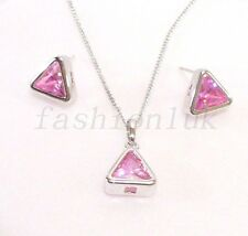 New White Gold Plated Girl Pink CZ Cubic Triangle Stud Earrings Necklace Set