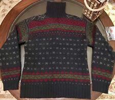 Ralph Lauren Hand Knit Merino Wool Fair Isle Turtle Neck Sweater Sz Medium Navy