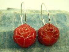 Vintage Red Coral Rose Bud Carved Sterling Silver 925 Hoop Pierced Earrings