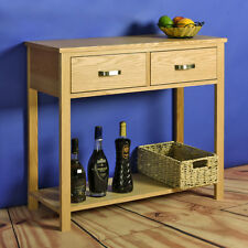 Oak Console Table Dressing Desk Solid Wood Hallway Table Home Storage Cabinet UK
