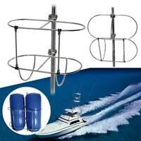 """Folding Dual Fender Holder Inflatable Boat Fender Rack For Standard 7/8""""&1"""" Rail"""